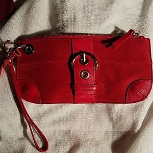 Bath & Body Works small purse red leather and sued